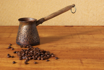 Coffee beans and cezve