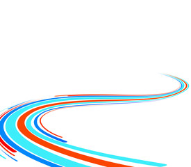 Abstract background with the blue and red bent lines