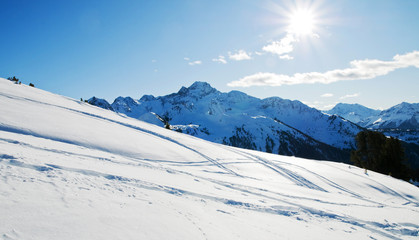 Snowy winter mountains