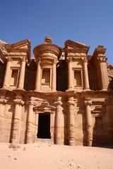 monastery in rock city Petra / Jordan