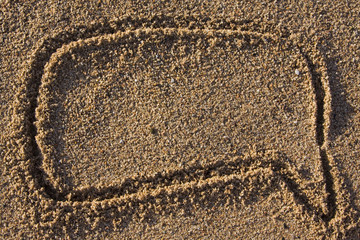 comic cloud text sign in sand
