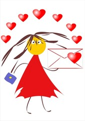 Love letter. Funny picture. Cartoon image.