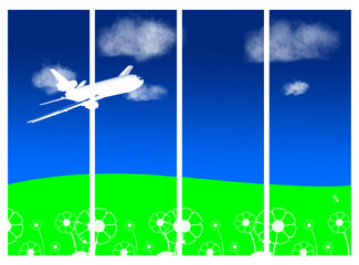 Printed roller blinds Airplanes, balloon sky and airplane