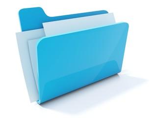 Full blue folder icon isolated on white - fototapety na wymiar