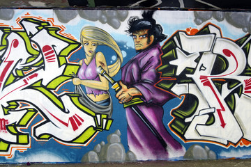 Graffiti: japanese warrior