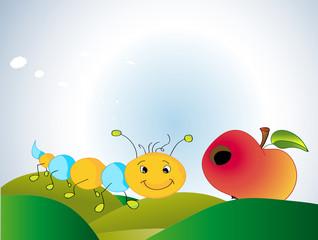 Kleine Raupe mit Apfel