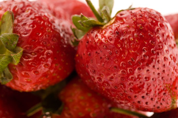 Close up picture of isolated strawberries