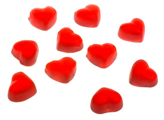 ten heart shaped fruit jellies