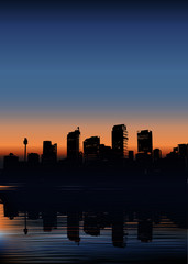vector illustration of a city in early morning