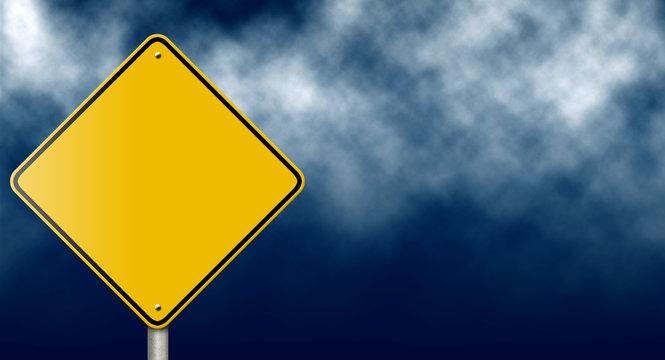 Blank Traffic Sign on Dark Stormy Sky