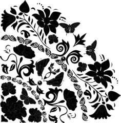 black butterflies and flowers corner
