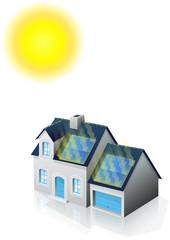 Pavillon solaire et le soleil (reflet)