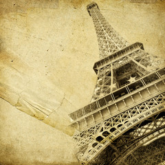 Fototapete - vintage paper with eiffel tower