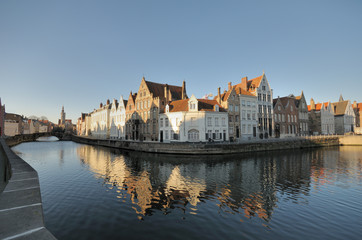 Door stickers Bridges Brugge Canal Houses