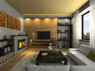 View on the modern apartment with fireplace