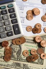 Money and Calculator Vertical
