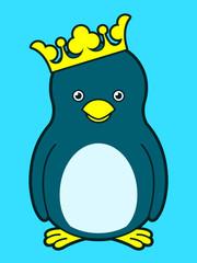 Cute king penguin wearing crown