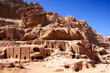 ancient rock city Petra in Jordan / world wonder