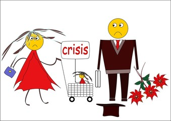 Scared family in a period of crisis. Cartoon image.