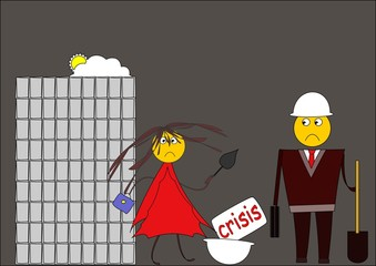 Crisis. Builders out of employment. Cartoon image.
