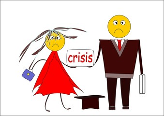 Crisis. Confused man and woman beg alms. Cartoon image.