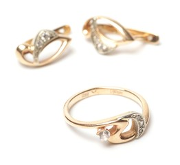 Gold earrings and ring