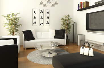B&W living room