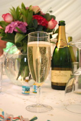 Wedding champagne and party poppers