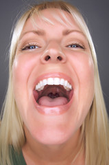Laughing Blond Woman with Funny Face