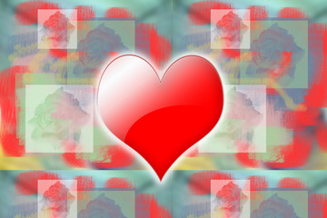 Glowing red heart on abstract background with roses