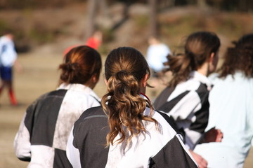 joueuses de rugby feminin vues de dos