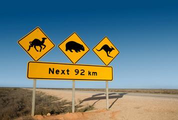 Kangaroo, wombat and camel warning sign Australia
