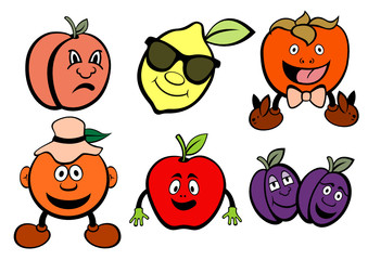 cute fruits icons set