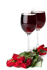 Roses and red wine