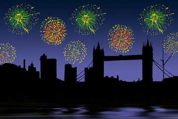 London skyline and fireworks