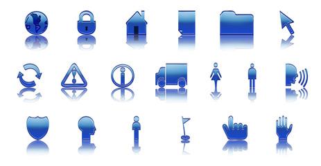 Icônes Web (bleu) - avec reflet