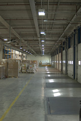 Warehouse Interior showing loading doors and pallets