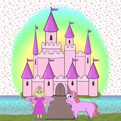 Printed kitchen splashbacks Castle Fairytale Princess Cartoon Scene