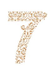 Floral number 7. Ornament font