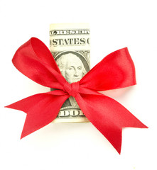 US dollar with red bow