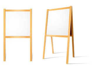 Blank wooden easels. Black board is inside SVG.