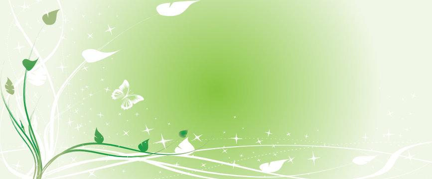 bandeau floral vert et papillons