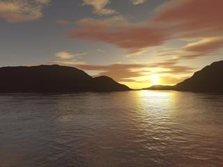 Sonnenuntergang hinter Insel