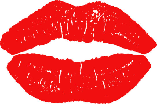 vector illustration of lips imprint