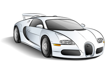 Drawing of the white car