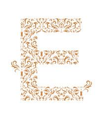 Floral letter E. Ornament font