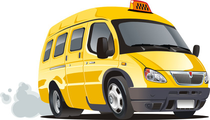 Vector cartoon taxi bus