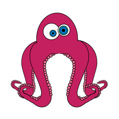 Octopus Cartoon - Isolated On White