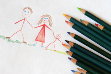 Child's drawing with colored pencils