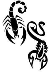 Pair of black tribal scorpion tattoos